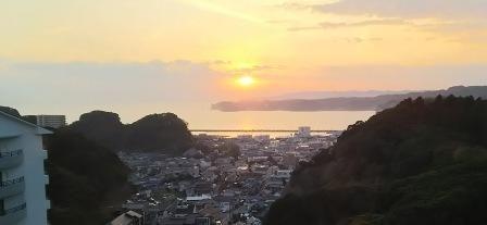 勝浦ホテルの夕日